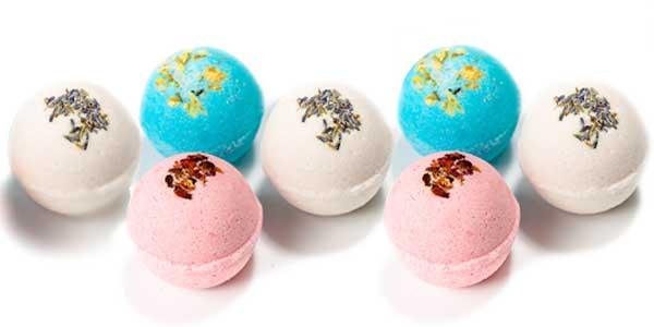 indica dreams bath bombs - pink white and blue bath bomb balls